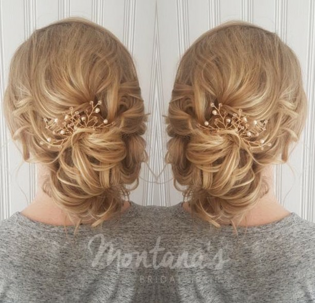 Messy updo hairstyle with rose gold hair piece