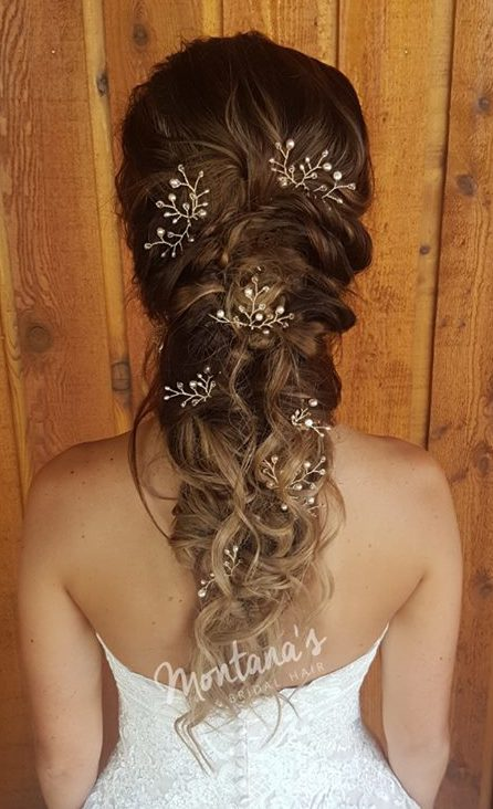 ong bridal hairstyle with rose gold hair pins wedding dress