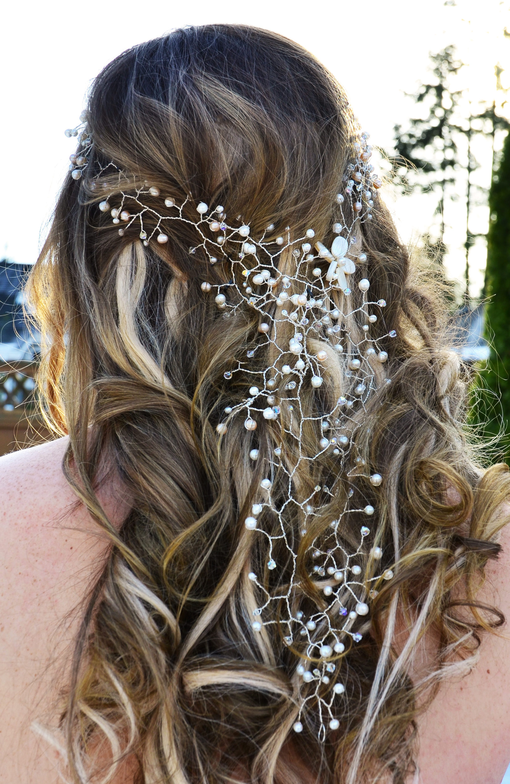 rose gold wedding hair accessories