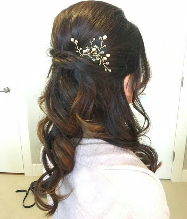 half up half down hairstyle with rose gold hair pins by West Coast Jewelry