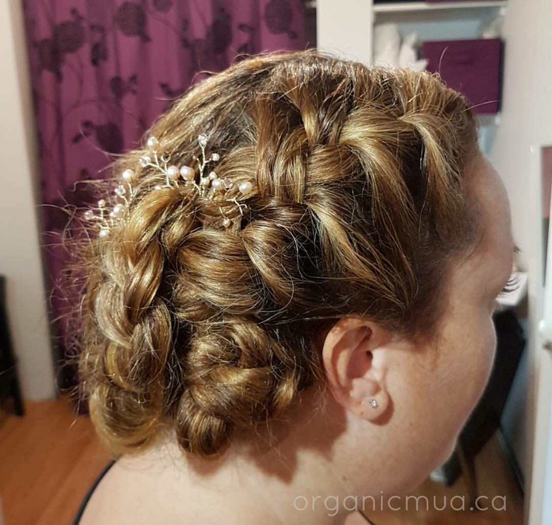 wedding updo braid with rose gold hair pins