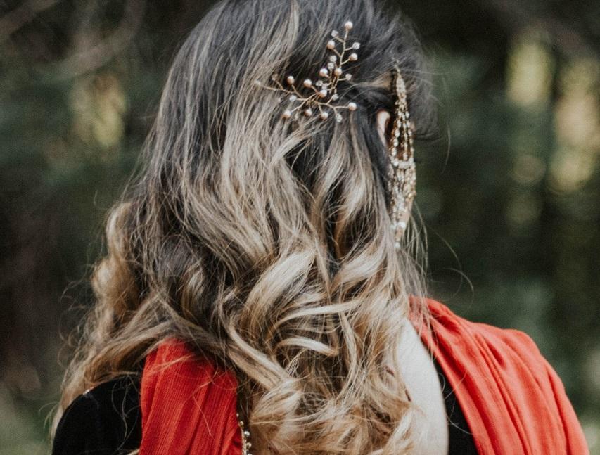 rose gold wedding hair piece indian bride