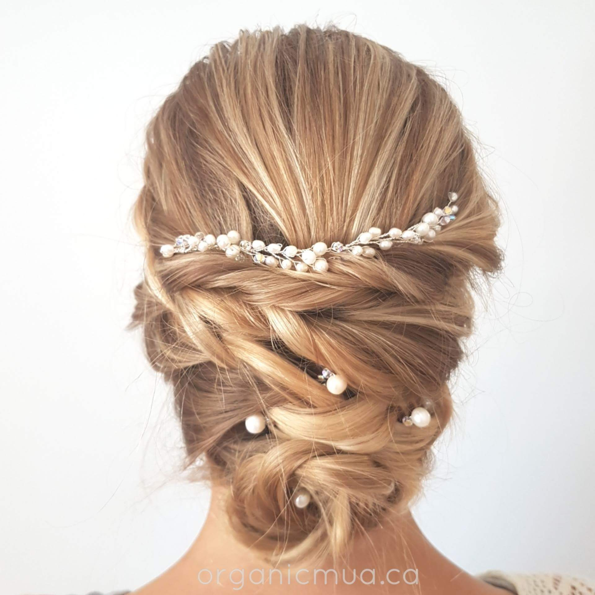 wedding updo blonde hair with pearl hair vine and hair pins west coast jewelry