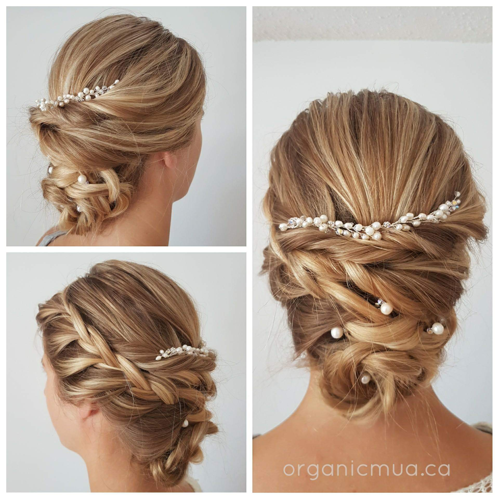 Wedding Hairstyles With Jewels: Thin Pearl Hair Vine With 5 Simple Pearl Hair Pins